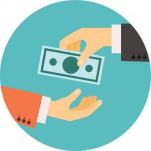 hand giving money illustration